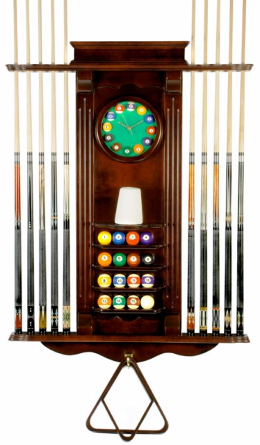 Cue Rack Only- 10 Pool - Billiard Stick & Balll Wall Stand W/ Clock Mahog Finish
